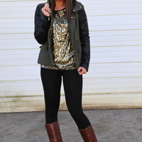 Olive Swag {Faux Leather Jacket}