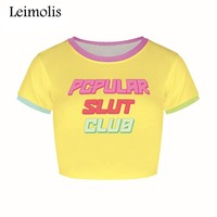 Leimolis 2017 summer 3d print popular slut Letter harajuku kawaii punk sexy tight crop top girl punk rock short shirt women