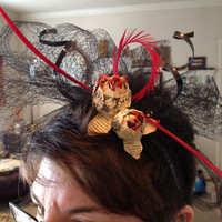 Makers Mark flower Fascinator headband with TWO Makers Mark flowers for Derby, Oaks or Wedding