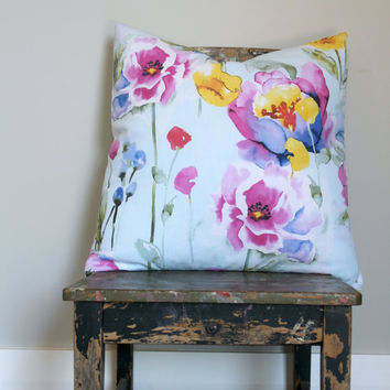 Watercolor flower print pillow cover, spring decor cushion, pale blue throw, pink, yellow, green, purple, lilic, lemon, Lumber pillow cover