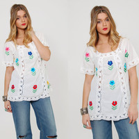 Vintage 70s MEXICAN Top White EMBROIDERED Floral Boho Tunic Crochet LACE Top Hippie Blouse