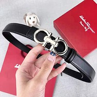Ferragamo New fashion buckle leather couple belt Black with box