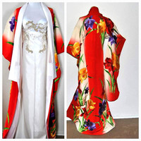 Fabulous Japanese Kimono Silk Robe Floral Embroidery Wedding Gown Cover up Train Authentic Embroidery Cloak