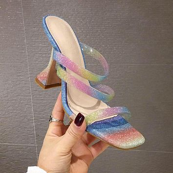 Color thin belt combination square head shallow mouth thick super high heel ladies large size slippers