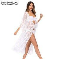 Belleziva Hollow Knit Crochet Sexy Bikini Cover Up Swimwear Women Robe De Plage Beach Cover Up Sheer Lace Tie Front Beach Dress