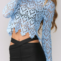 Blue Long Sleeve Lace Cropped Top