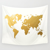Gold Foil World Map Wall Tapestry by Samantha Ranlet