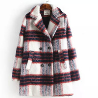 Fashion Wine Gray Plaid Casual Mosaic Wool Dust Coat Outerwear