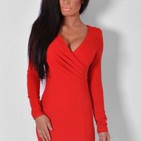 Nouvelle Red Front Wrap Mini Dress | Pink Boutique