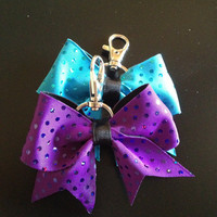 Purple Sequins Cheer Bow Keychain