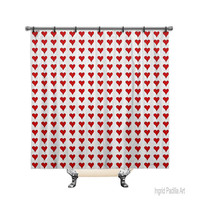 Red Hearts, Printed Fabric Shower Curtain, Bath Decor, Home Decor, Funky, Art, by Ingrid Padilla