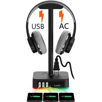 RGB Headphone Stand with USB Charger KAFRI Desk Gaming Headset Holder Hanger Rack with 3 USB Charging Port and 2 Outlet - Suitable for Gamer Desktop Table Game Earphone Accessories Boyfriend Gift