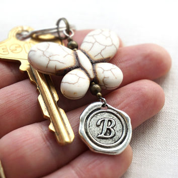 ON SALE Initial Keychain, Personalized Keychain, Your Butterfly, Monogram Keychain, Wax Seal, White Turquoise Jewelry, Gift for man or woman