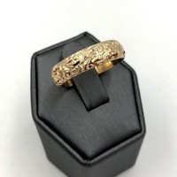 Vintage 9k 375 Yellow Gold Men's Ring wedding Band repouse 10sz