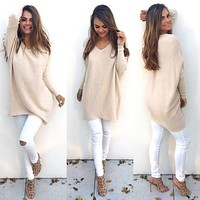 Autumn Winter Women Ladies V-Neck Chunky Knitted Oversized Baggy Sweater Jumper Tops Outwear