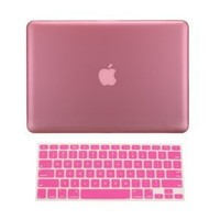 """TopCase® 2 in 1 Ultra Slim Light Weight Rubberized Hard Case Cover and Keyboard Cover for Macbook Pro 13-inch 13"""" (A1278/with or without Thunderbolt) with TopCase® Mouse Pad (Macbook Pro 13"""" A1278, Pink)"""
