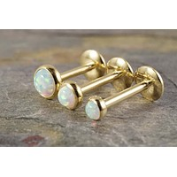 Gold White Fire Opal 16 Gauge Cartilage Earring Tragus Monroe Helix Piercing You Choose Stone Size