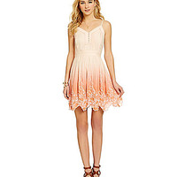 Chelsea And Violet Dip Dye Embroidery Dress | Dillards.com