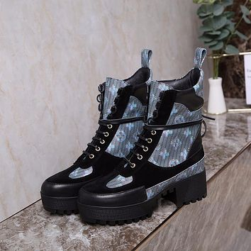 lv louis vuitton trending womens black leather side zip lace up ankle boots shoes high boots 330