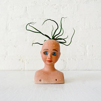 10% SALE - Vintage Doll Head Air Plant Bulbosa Garden - Creepy Cute Collection