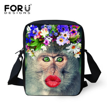 Preppy style women messenger bags 3D animals monkey pattern cross body bag for girls causal brand mujer small women bags