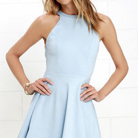 Delightful Surprise Light Blue Skater Dress
