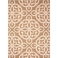 Khaki Fretwork Patterned Outdoor Rug
