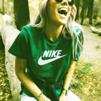 Nike Women Men  T-shirt Fashion Short Sleeve Print Letters Top Green