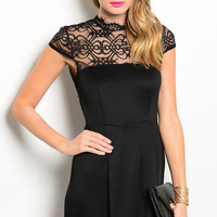 Cap Sleeve Lace Fit & Flare Cocktail Dress