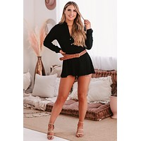 Giana Long Sleeve Button-Down Belted Romper (Black)
