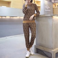 """Fendi"" Women Fashion Retro Multicolor F Letter Long Sleeve Trousers Set Two-Piece Sportswear"