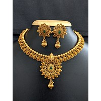 Temple jewelry - Lord Ganesha Pendant Choker necklace and stud earrings set