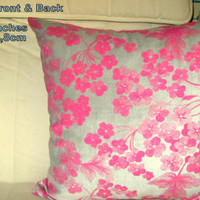 Pink floral – Silver pearl velvet 20x20 pillow cover
