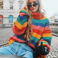 Rainbow Turtleneck Sweaters Women Jumpers Knitted Clothes Fashion Striped Oversized Pullover Female Sale