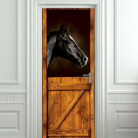"""Door STICKER horse black stall zoo mural decole film self-adhesive poster 30x79""""(77x200 cm) / from Pulaton"""