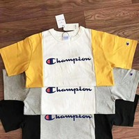 Champion Fashion Women Men Splicing Color Round Collar T-Shirt Top