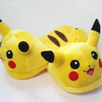 "New 2013 Nintendo Pokemon Pikachu 11"" Adult Plush Slipper 1 Pair Anime cosplay"