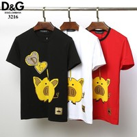 Dolce&Gabbana D&G Women Men Fashion Black White Red T-Shirt Top Tee (no stock)