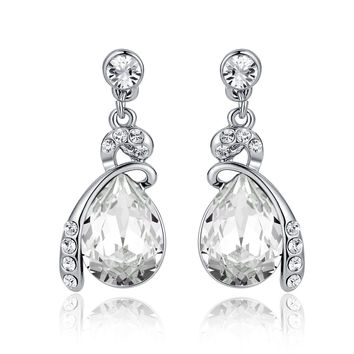 Eternal Love Teardrop Swarovski Elements Crystal Drop Earrings - Clear