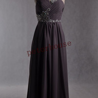 Gray Beaded Long Prom Dresses with Peacock Necklace,Bridesmaid Dresses, Evening Dresses,Formal Party Dresses,Wedding Party Dresses