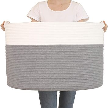 """24"""" x 24"""" x 17"""" Max Size Large Cotton Rope Basket, Extra Large Storage Basket, Woven Laundry Hamper, Toy Storage Bin, for Blankets Clothes Toys Towels Pillows in Living Room, Baby Nursery, Grey 24""""x24""""x17"""""""