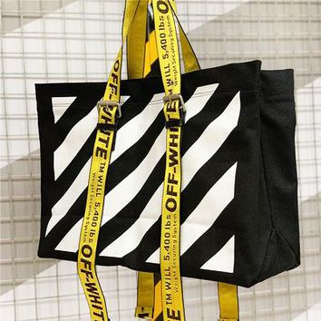 Off-white hot seller for casual ladies with diagonal stripe prints and hand-held shopping bags