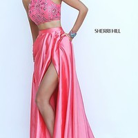 Sherri Hill Two Piece High Neck Open Back Prom Dress with Beaded Bodice