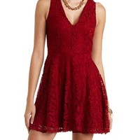 Sleeveless Lace Skater Dress by Charlotte Russe - Wine