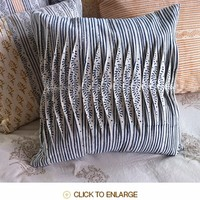 Tilonia® By DH Studio- Pleated Decorative Pillow Cover in Centipede Stripe in Blueberry