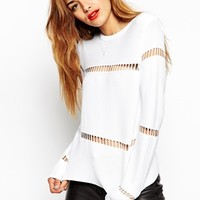 ASOS Structured Jumper With Cut Out Details And Zip Back