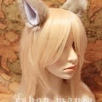 KHAKI DOG ears hair clip / CAT ears hair clip , White Lining , 10 cm tall , for Cosplay Costume Party Halloween
