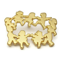 Ring Around the Rosie Gold Tone Pin - Circle of Children Friends Tie Tack Pin - Lapel Pin - Playing Children