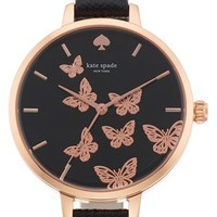 Women's kate spade new york 'metro' butterfly dial leather strap watch, 34mm - Black/ Rose Gold