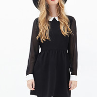 FOREVER 21 Collared Chiffon Dress Black/White
